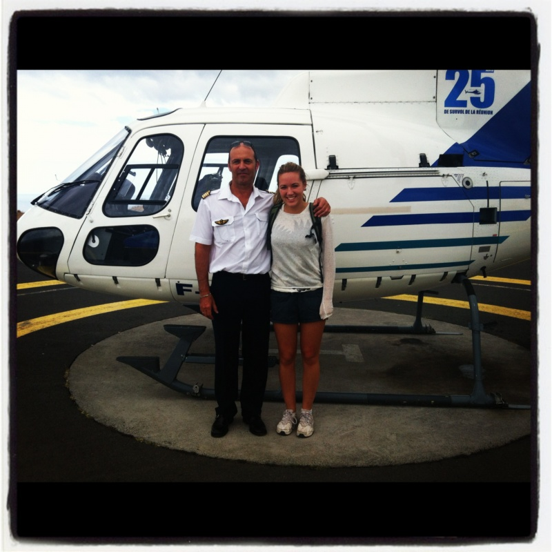 Me with the pilot after an incredible helicopter ride over La Reunion's mountains and coast line