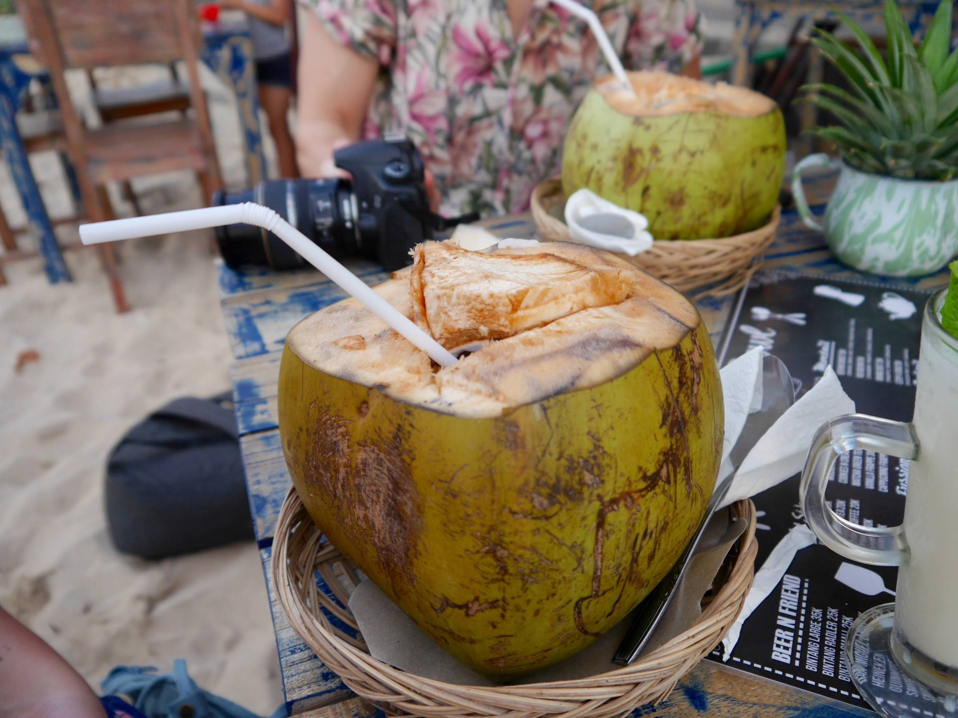 coconut with a straw in Bali