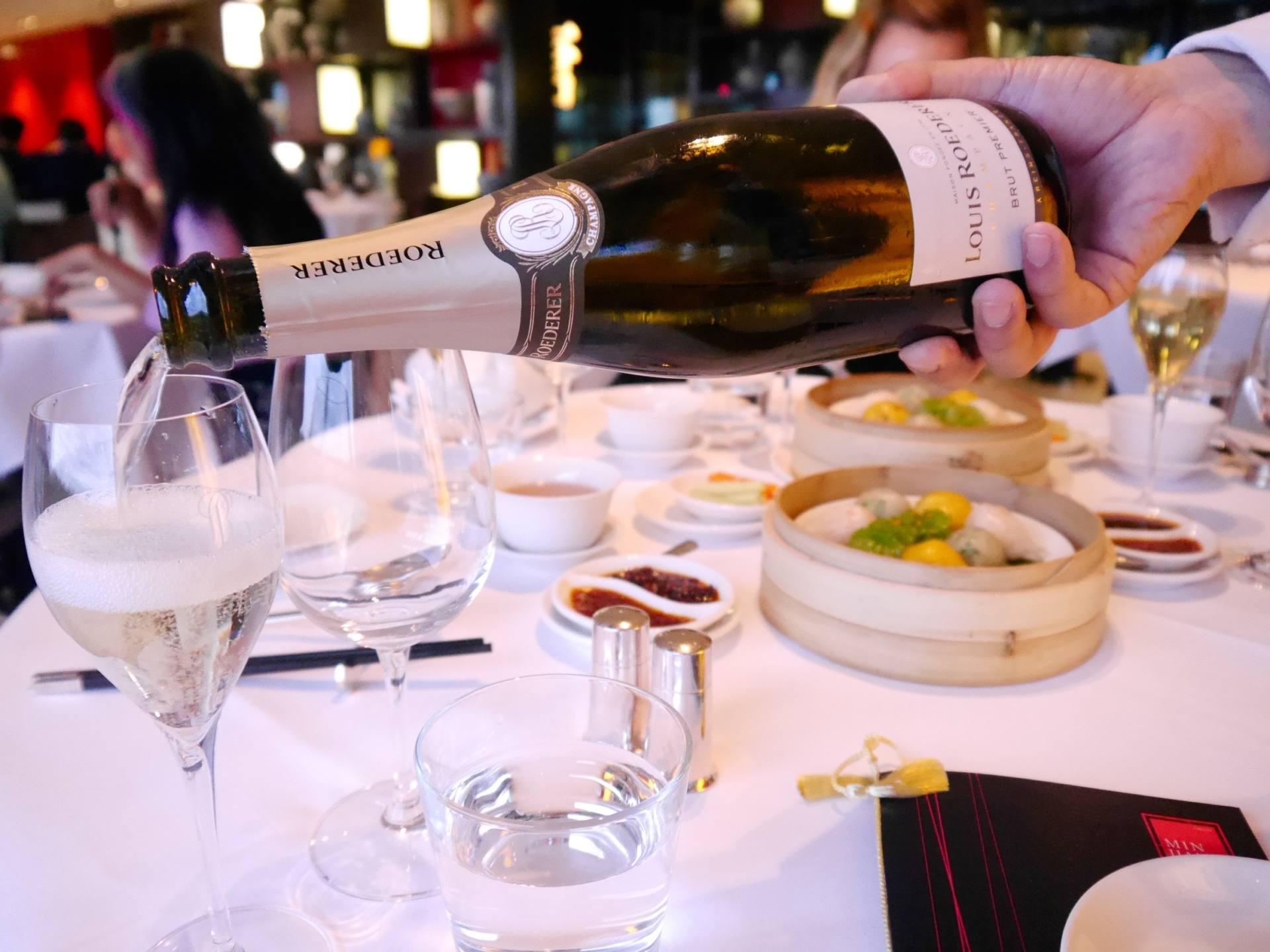 things to know before visiting London - champagne at Min Jiang