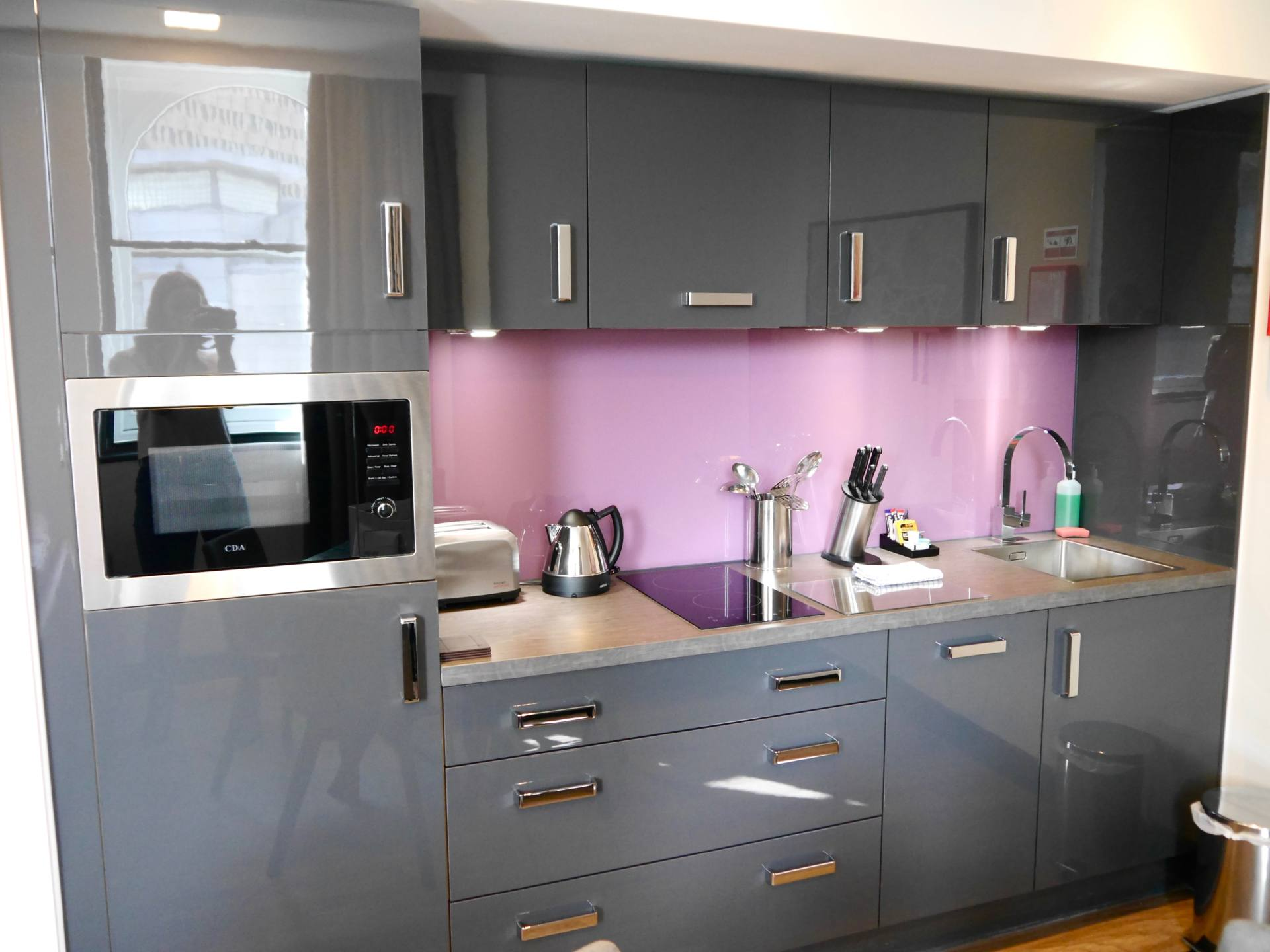 Kitchen of Liberty Suite at Roomzzz Manchester Corn Exchange