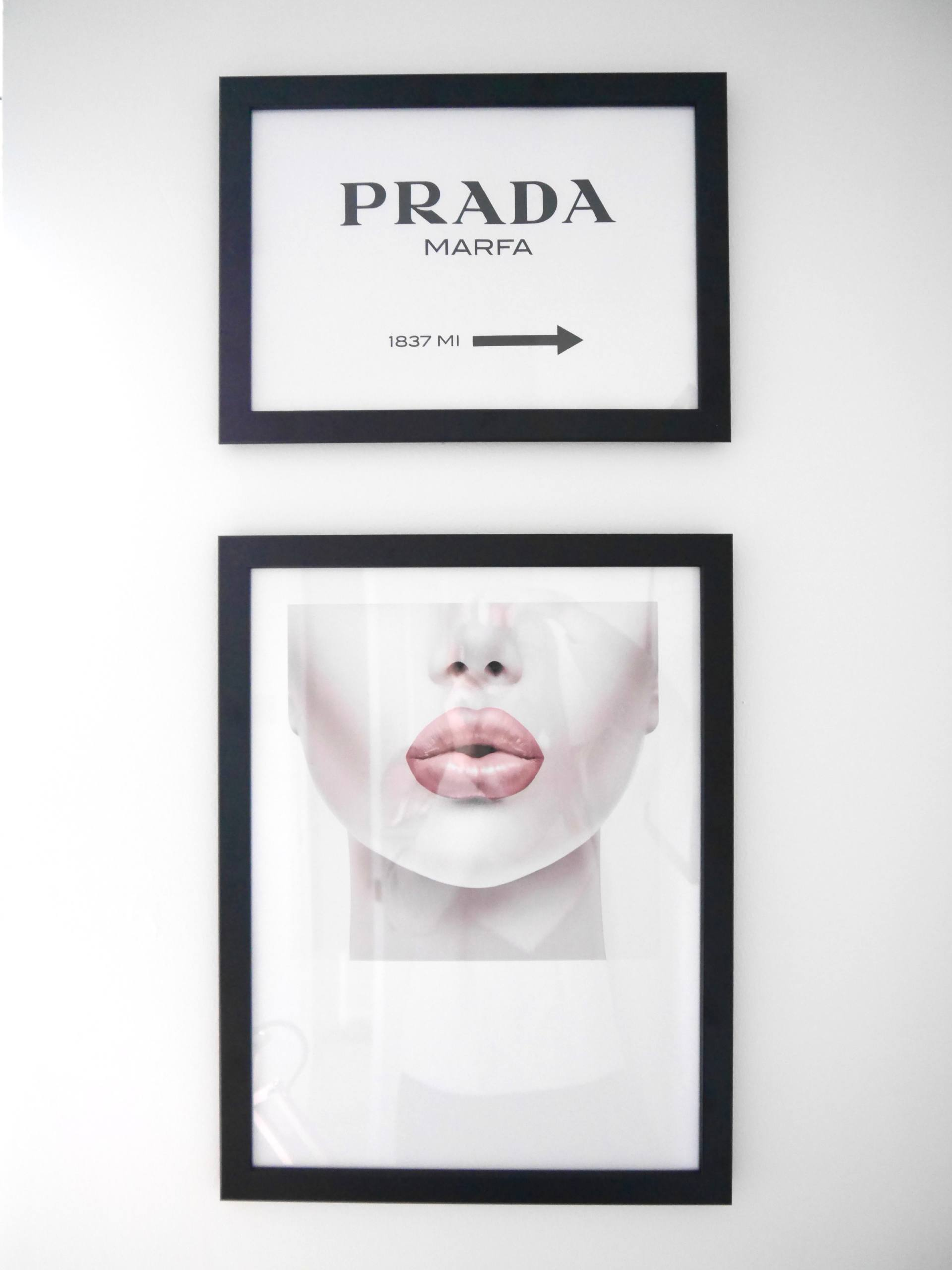 Desenio Framed Posters Prada and Lips