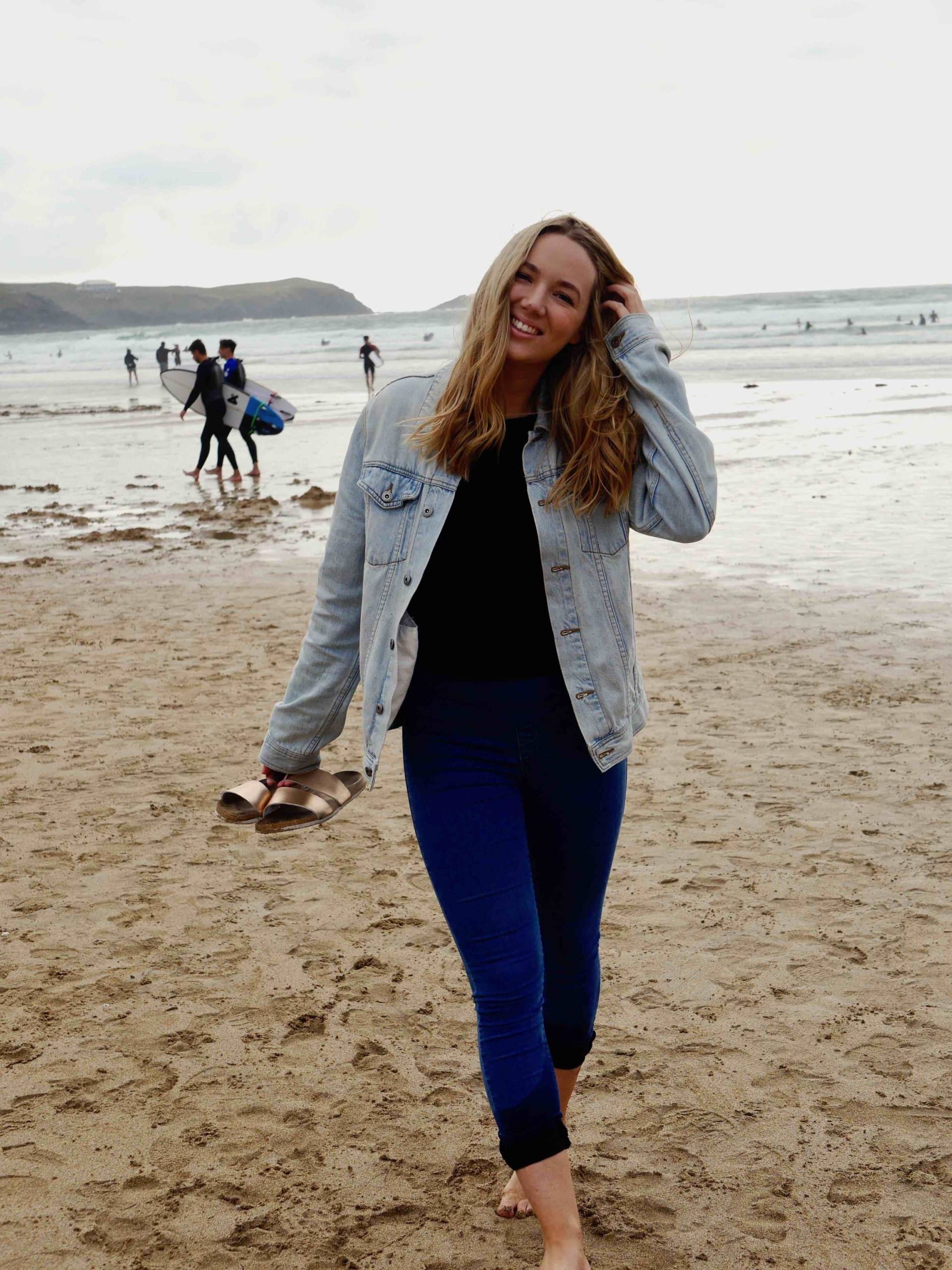 The Travelista Jess Gibson Fistral Beach, Cornwall